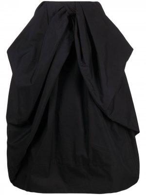 Расклешенная юбка миди со сборками Simone Rocha. Цвет: черный