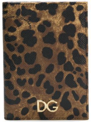 Обложка для паспорта с леопардовым принтом Dolce & Gabbana. Цвет: разноцветный