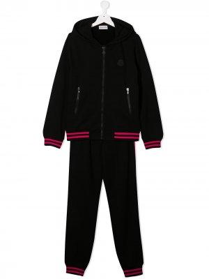 Спортивный костюм с полосками Moncler Enfant. Цвет: черный