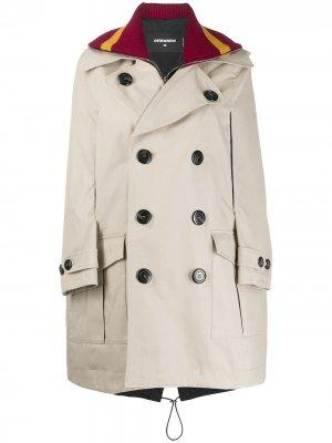Пальто-джемпер в стилистике кейпа Dsquared2. Цвет: нейтральные цвета