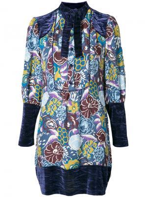 Платье-туника с рисунком Anna Sui. Цвет: синий
