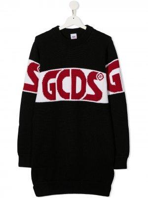 Трикотажный джемпер с логотипом Gcds Kids. Цвет: черный