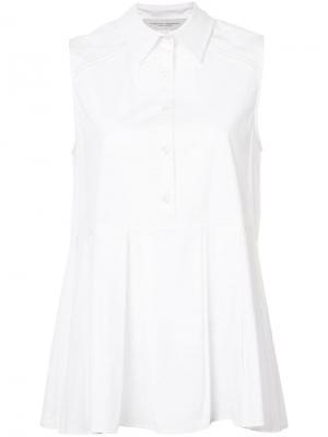 Рубашка без рукавов со складками Carolina Herrera. Цвет: белый