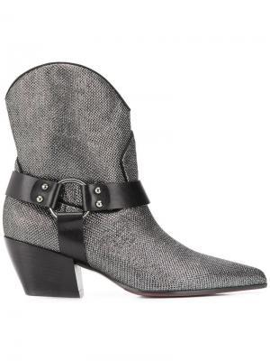 Ботинки с заостренным носком Deimille. Цвет: серебряный