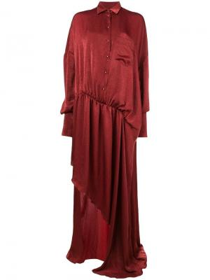 Асимметричное платье-рубашка Esteban Cortazar. Цвет: желтый