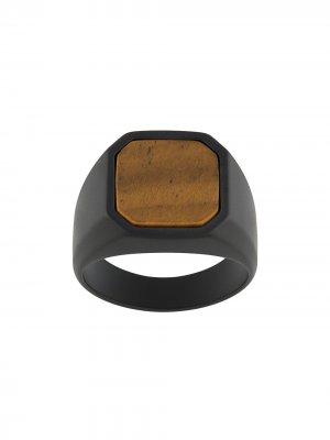 Перстень с керамической вставкой Tateossian. Цвет: черный
