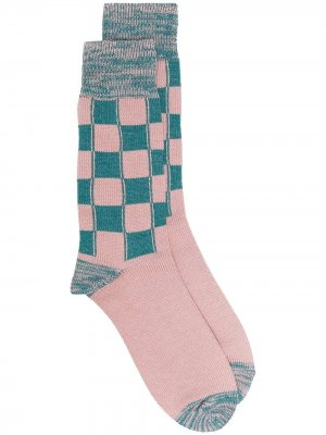 LONG CHECK SOCKS PINK GREEN AMBUSH. Цвет: розовый