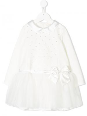 Платье с украшением из искусственного жемчуга Bimbalo. Цвет: белый