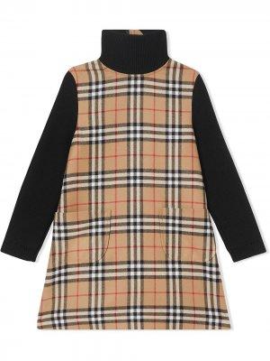 Платье в клетку Vintage Check с воротником-воронкой Burberry Kids. Цвет: нейтральные цвета