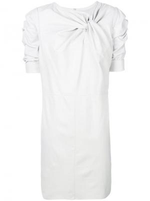 Платье-шифт с узлом Drome. Цвет: белый