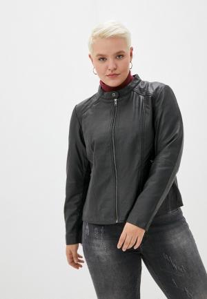 Куртка кожаная Zizzi. Цвет: черный
