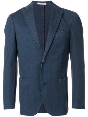 Однобортный джинсовый пиджак Boglioli. Цвет: синий