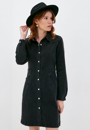 Платье джинсовое Ichi. Цвет: черный