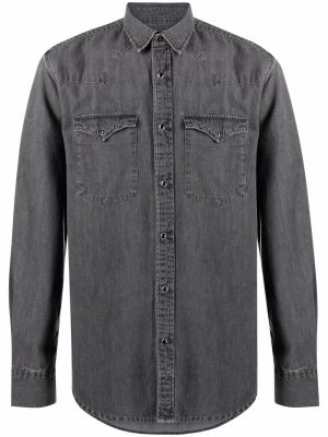 Джинсовая рубашка с длинными рукавами Deperlu. Цвет: серый