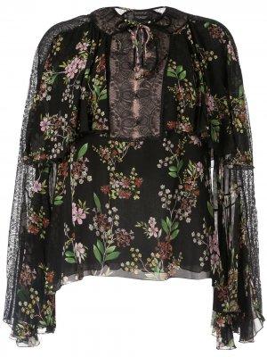 Блузка с кружевными вставками и цветочным принтом Giambattista Valli. Цвет: черный