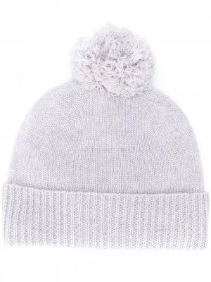 Трикотажная шапка бини с помпоном Agnona. Цвет: серый