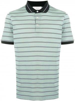 Полосатая рубашка поло с короткими рукавами Cerruti 1881. Цвет: зеленый