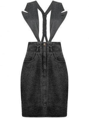 Джинсовая юбка 1990-х годов со съемными лацканами Moschino Pre-Owned. Цвет: серый