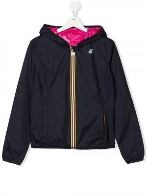 Куртка с капюшоном и вышитым логотипом K Way Kids. Цвет: синий