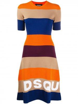 Платье А-силуэта с логотипом вязки интарсия Dsquared2. Цвет: синий