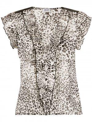Блузка с V-образным вырезом и анималистичным принтом LIU JO. Цвет: белый