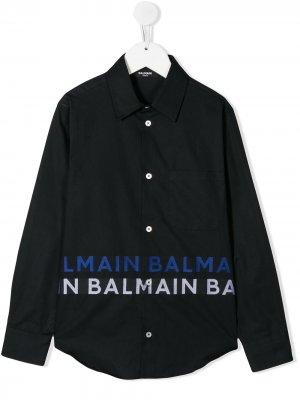 Рубашка с длинными рукавами и логотипом Balmain Kids. Цвет: черный