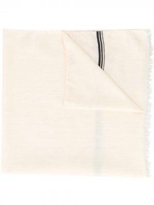Шарф с бахромой и логотипом Yves Saint Laurent Pre-Owned. Цвет: белый