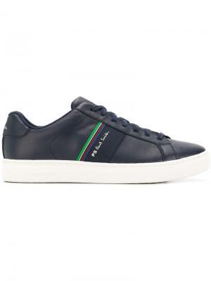 Кроссовки на шнуровке с полосками PS Paul Smith. Цвет: синий