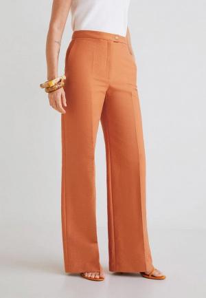 Брюки Mango. Цвет: оранжевый