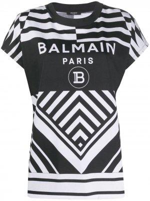 Футболка с логотипом Balmain. Цвет: черный