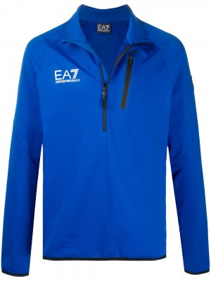 Пуловер с логотипом Ea7 Emporio Armani. Цвет: синий