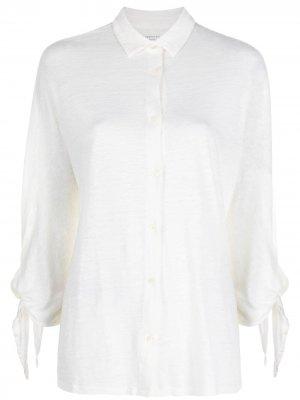 Рубашка с завязками на манжетах Majestic Filatures. Цвет: нейтральные цвета