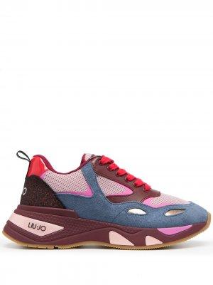 Массивные кроссовки в стиле колор-блок LIU JO. Цвет: розовый