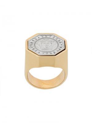 Перстень с тиснением Medusa Versace. Цвет: металлик
