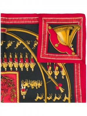 Платок Sonneurs de Trompe 1980-х годов pre-owned Hermès. Цвет: красный