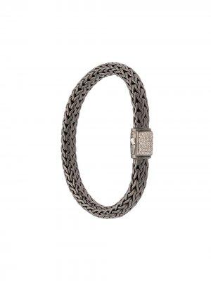 Серебряный браслет Classic Chain с бриллиантами John Hardy. Цвет: черный