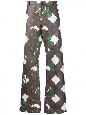 Широкие брюки с цветочным принтом Walter Van Beirendonck. Цвет: коричневый
