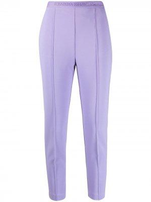 Укороченные брюки с вышитым логотипом Elisabetta Franchi. Цвет: фиолетовый