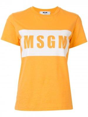 Футболка с короткими рукавами и логотипом MSGM. Цвет: оранжевый