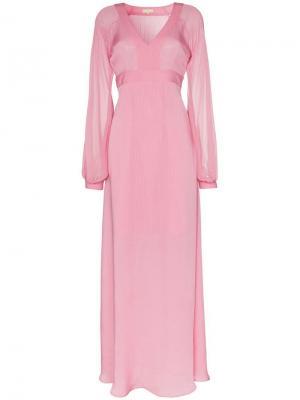 Платье макси ампирного силуэта с V-образным вырезом By Timo. Цвет: розовый