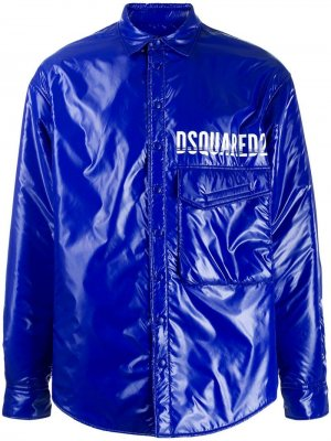 Утепленная куртка с логотипом Dsquared2. Цвет: синий