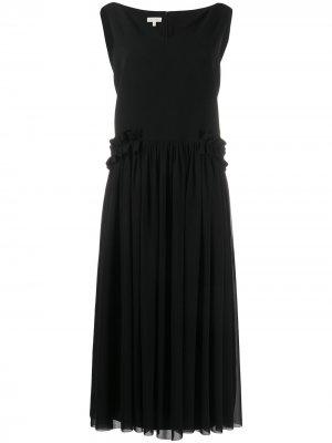 Платье-трапеция с V-образным вырезом Delpozo. Цвет: черный