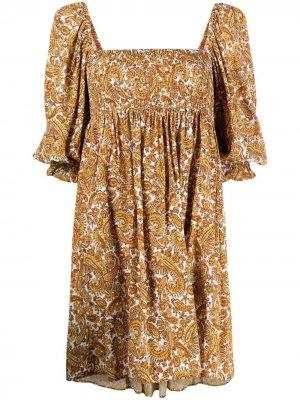 Платье Alina с принтом пейсли Faithfull the Brand. Цвет: нейтральные цвета
