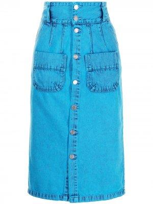 Джинсовая юбка-карандаш с завышенной талией SJYP. Цвет: синий