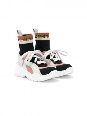 Кроссовки-носки на шнуровке Elisabetta Franchi La Mia Bambina. Цвет: черный