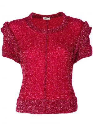 Свитер с короткими рукавами и люрексом Comme Des Garçons Vintage. Цвет: красный