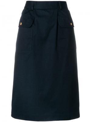 Юбка миди A-образного силуэта Chanel Vintage. Цвет: синий