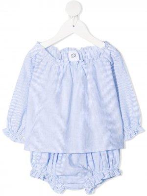 Полосатый комплект для новорожденного Douuod Kids. Цвет: синий