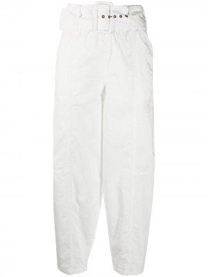 Зауженные брюки с завышенной талией и поясом See by Chloé. Цвет: белый