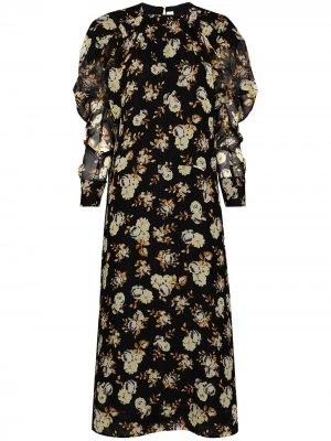 Платье с пышными рукавами и цветочным принтом Victoria Beckham. Цвет: черный